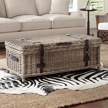 Navarro Rattan Outdoor Coffee Table Trunk 1x487 Lamps Plus