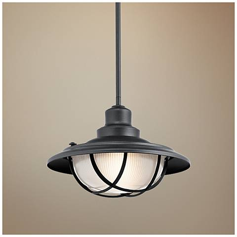 "Kichler Harvest Ridge 13""W Black Outdoor Hanging Light"