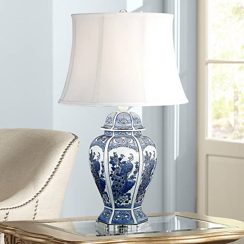 Monique Blue and White Peacock Table Lamp