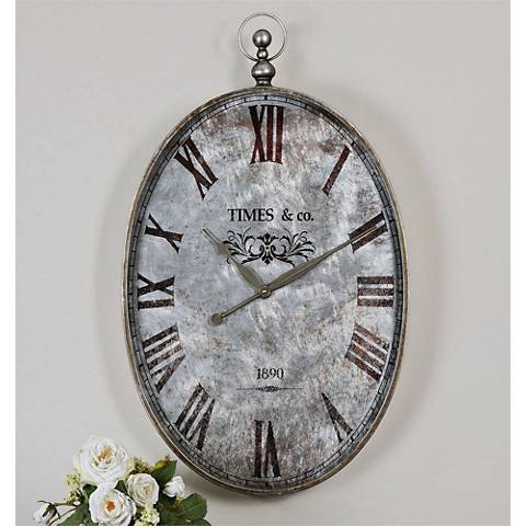 "Uttermost Argento 35"" High Antiqued Metal Wall Clock"