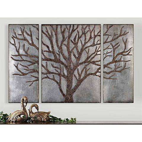 "Triptych Wall Art uttermost winter view 60"" wide triptych wall art set - #1y124"