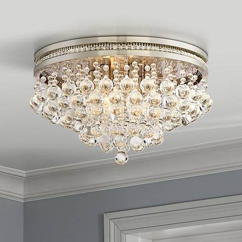 "Regina Brushed Nickel 15 1/4"" Wide Crystal Ceiling Light"