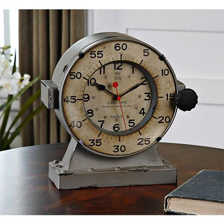 "Uttermost Maine 11"" High Antiqued Gray Table Clock"