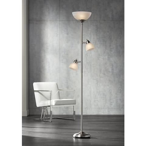 Ellery Brushed Steel Tree Torchiere 3 Light Floor Lamp