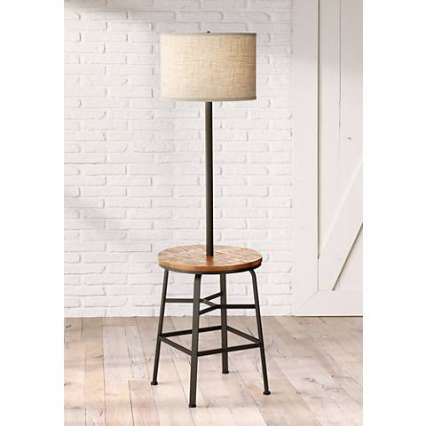 Winslow Matte Black Floor Lamp with Faux Wood Tray Table