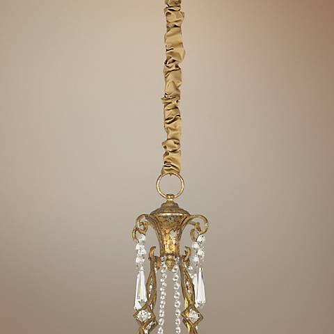 "Gold Silk 46 1/2"" Long Chandelier Chain Cover"