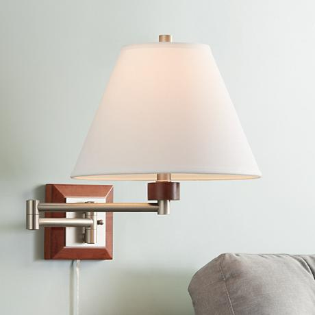 Brushed Steel and Wood Plug-In Swing Arm Wall Lamp