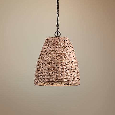 "Palisades 13 1/4""W Bronze and Natural Outdoor Pendant Light"