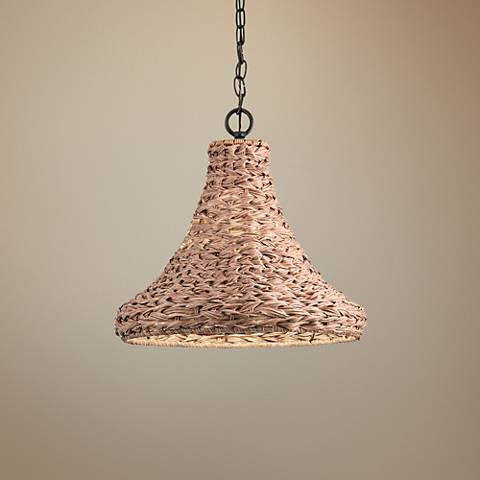 "Palisades 16"" Wide Bronze and Natural Outdoor Pendant Light"