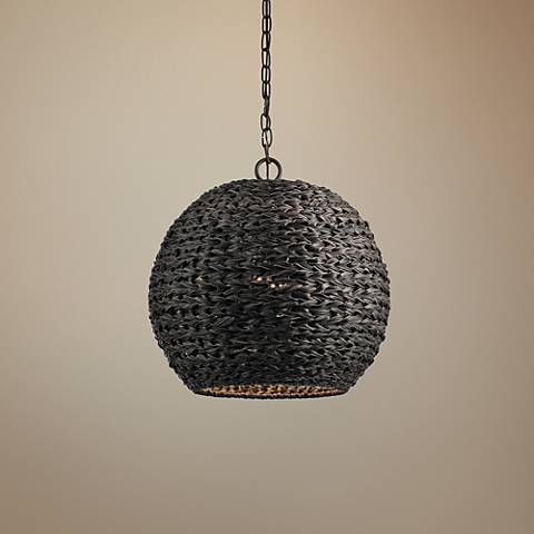 "Palisades 16 1/2""W Bronze and Chestnut Outdoor Pendant Light"