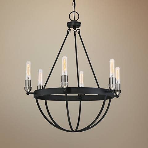 "Quoizel Basin 25""W Earth Black 2-Tone 6-Light Chandelier"