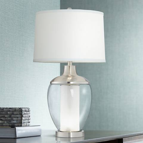 Joyce Clear Glass LED Night Light Table Lamp