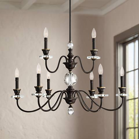 "Quoizel Ceremony 32""W Palladian Bronze 9-Light Chandelier"