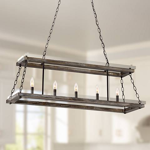 "Quoizel Dwelling 40""W Bronze Wood 5-Light Island Chandelier"