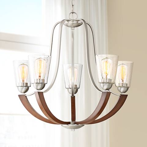 "Quoizel Holbeck 27"" Wide 5-Light Brushed Nickel Chandelier"