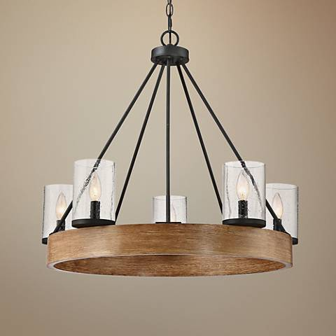 "Quoizel Lounge 27 1/2"" Wide 5-Light Gray Ash Chandelier"