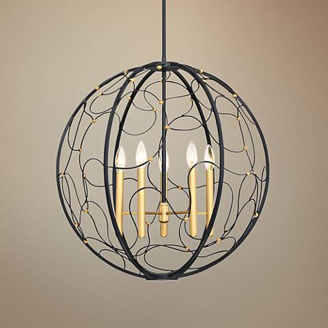 "Quoizel Titan 24"" Wide 5-Light Mystic Black Foyer Pendant"