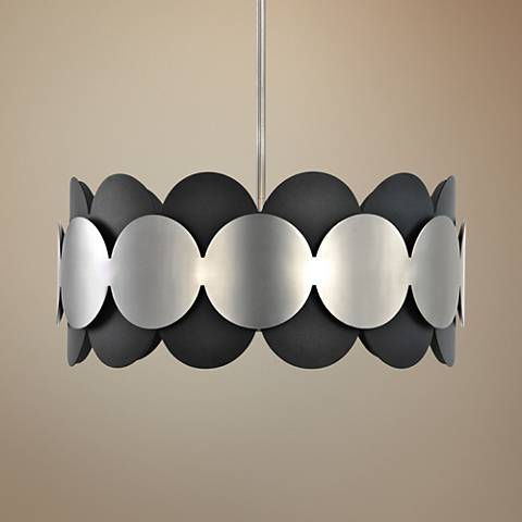 "Zooey 19 1/2""W Textured Black and Satin Nickel Pendant Light"