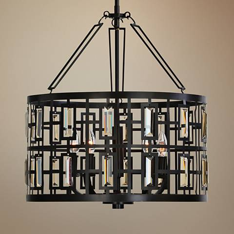 "Uttermost Rhombus 20"" Wide Weathered Bronze 5-Light Pendant"