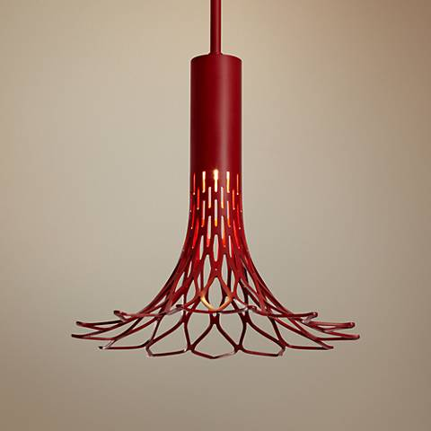 "Vermont Modern Full Bloom 9 1/2""W Satin Red Mini Pendant"