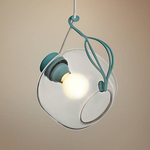 "Sinker 9 1/2"" Wide Satin Aqua and Clear Glass Mini Pendant"