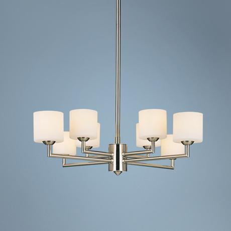 "George Kovacs 8-Light Brushed Nickel 22"" Wide Chandelier"