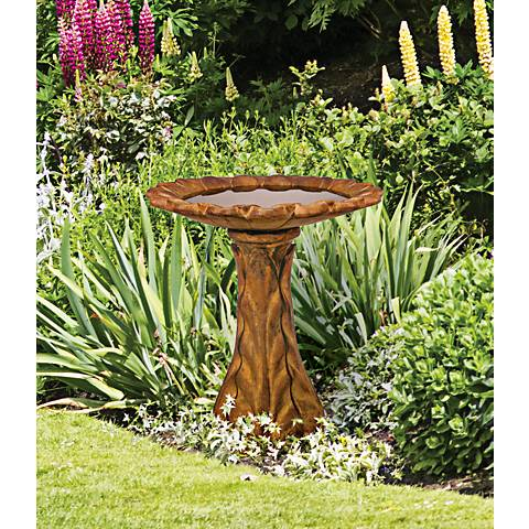 "Henri Studio Tapered Petal Cast Stone 31"" High Bird Bath"