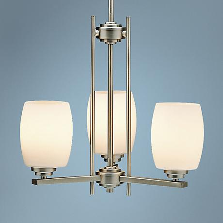 Brushed Nickel Three Light Chandelier