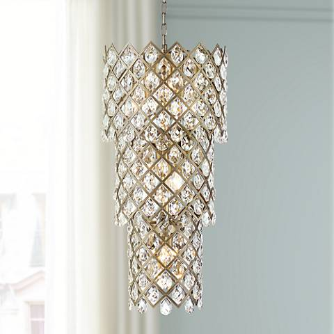 "Sumner 16 1/2""W Antique Brass and Crystal 20-Light Pendant"