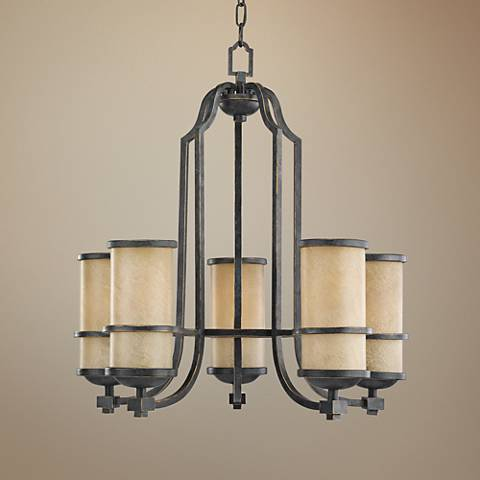 "Roslyn 23"" Wide 5-Light Flemish Bronze Chandelier"