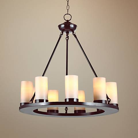 "Ellington 27"" Wide 9-Light Burnt Sienna Chandelier"