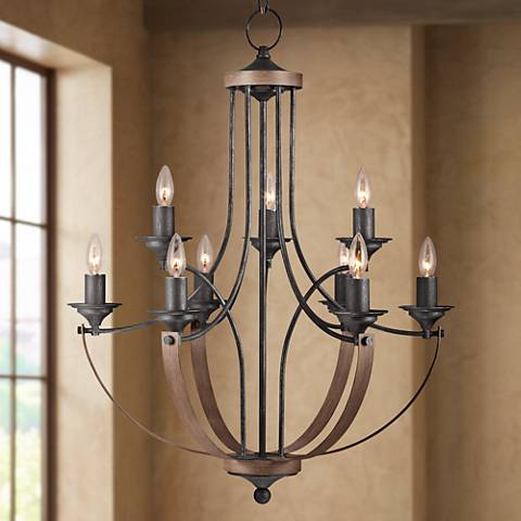 "Corbeille 27""W 9-Light Stardust and Cerused Oak Chandelier"