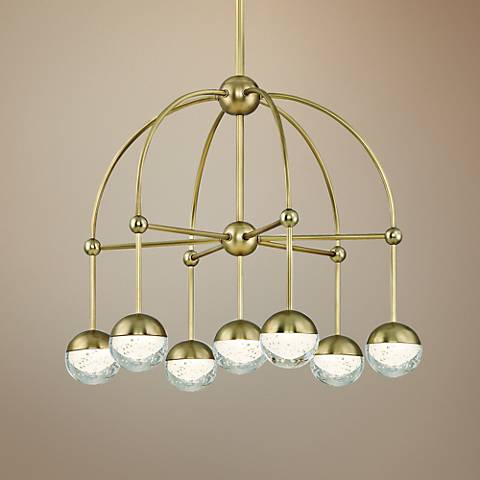 "Hudson Valley Boca 23 1/2"" Wide Aged Brass 7-LED Chandelier"