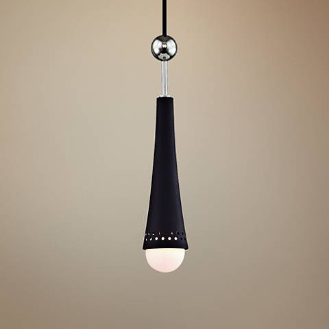 "Tupelo 2 1/2""W Polished Nickel and Black LED Mini Pendant"