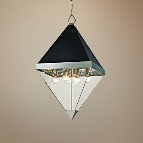 "Coltrane 15"" Wide Nickel and Black Textured 8-Light Pendant"