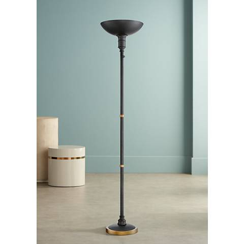 Malibu Dark Bronze LED Touch Dimmer Torchiere Floor Lamp