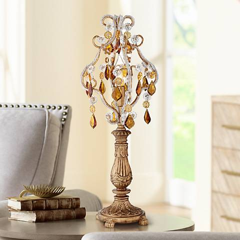 "Fay Gold 19 1/2"" High Crystal Candelabra Table Lamp"