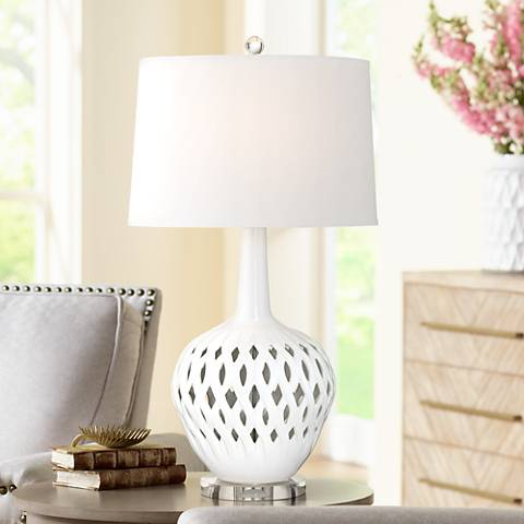 Possini Euro Marina White Ceramic Table Lamp