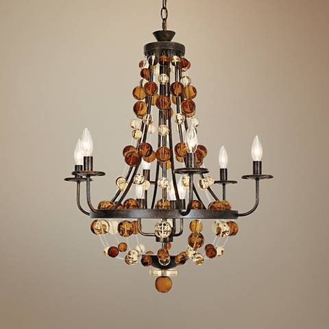 "Hollywood 24""W Golden Ochre Tonight Is My Night Chandelier"