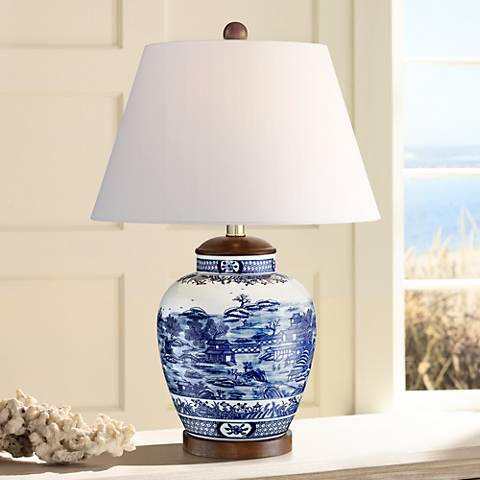 Sarah Blue and White Ceramic Urn Table Lamp