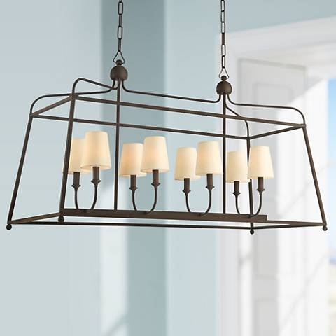 "Crystorama Sylvan 42""W Dark Bronze 8-Light Island Pendant"