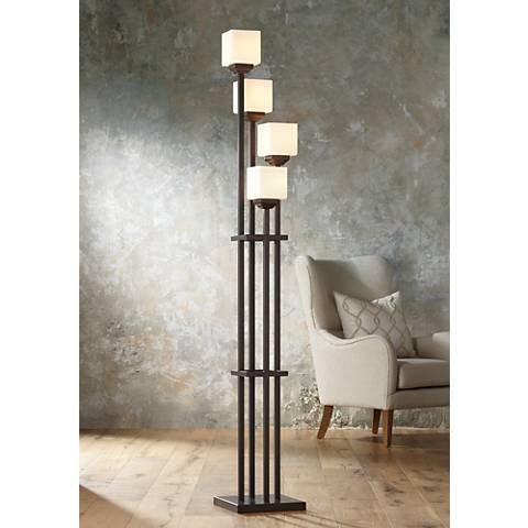 Light Tree Four Light Bronze Torchiere Floor Lamp
