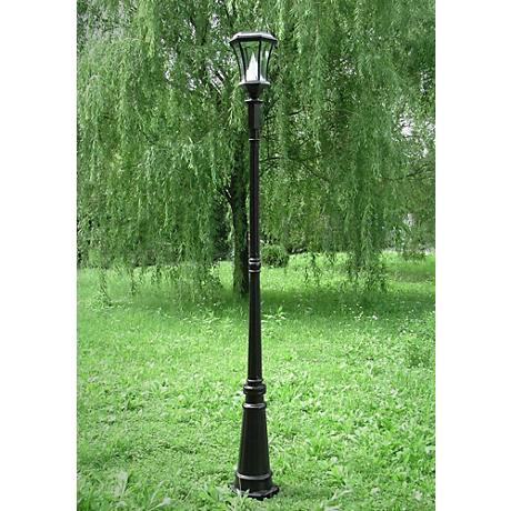 "Victorian 88"" HIgh Solar-Powered LED Post Light in Black"