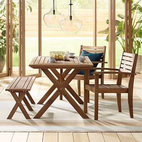 Nantucket Natural Wood 4-Piece Outdoor Picnic Set