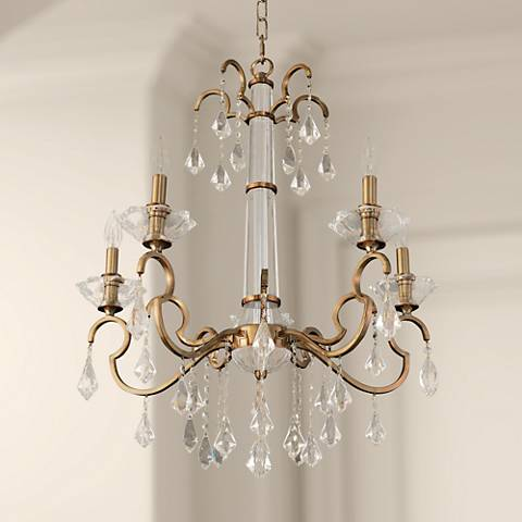 "Allegri Valencia 26"" Wide Champagne Gold 5-Light Chandelier"