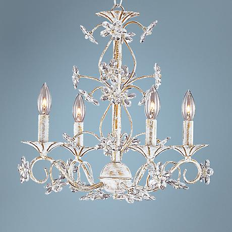 Crystorama Antique White Crystal Floret Chandelier