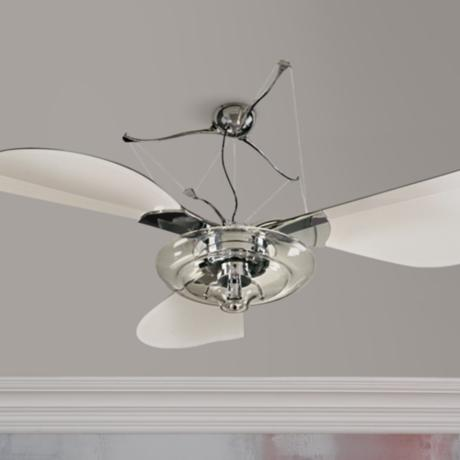 "58"" Quorum Jellyfish Chrome Ceiling Fan with Light Kit"