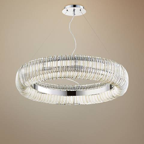 "Cyan Design Beaming Around 32"" Wide Chrome Pendant Light"