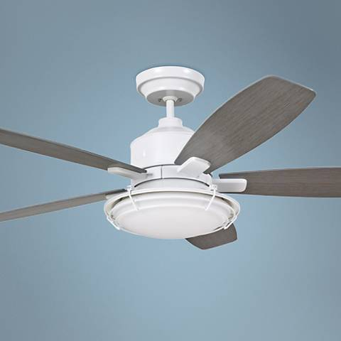 "54"" Emerson Rockpointe Satin White Ceiling Fan"