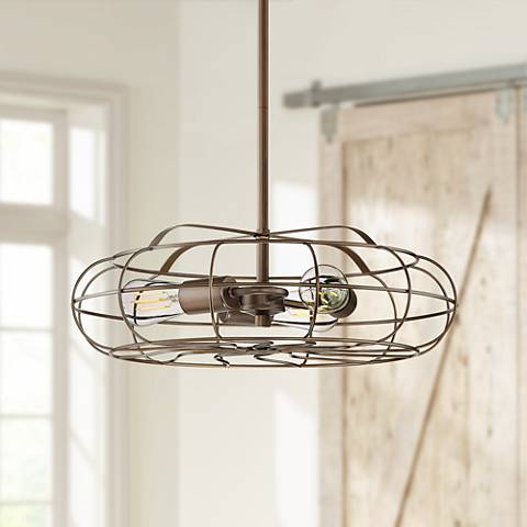 "Cask 18 3/4"" Wide Oil Rubbed Bronze 3-Light Pendant"